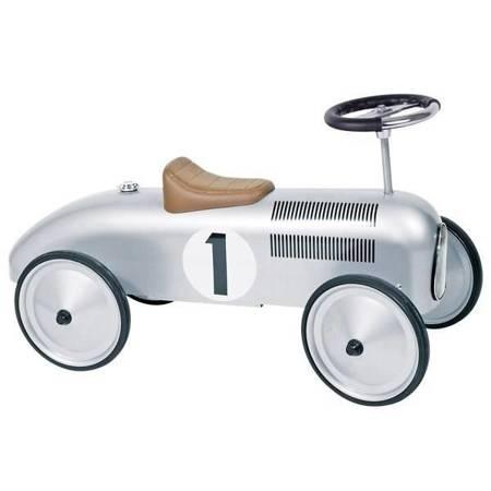 Goki - Metalowy jeździk wyścigowy srebrny