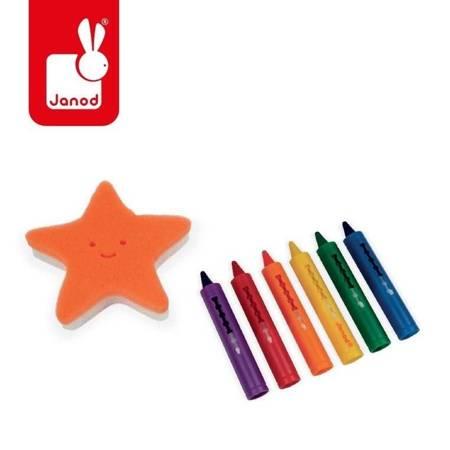 Janod - Kredki do kąpieli 6 kolorów z gąbką 3+