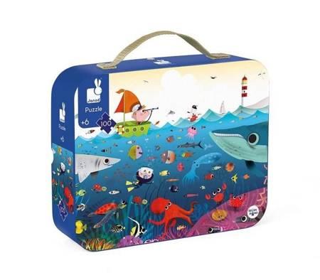 Janod: Puzzle w walizce Podwodny świat 100 szt 6+